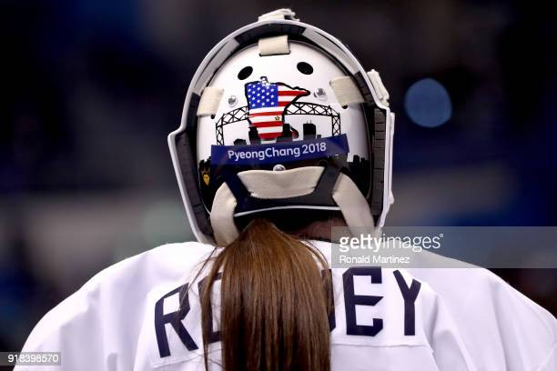 A detailed view of the mask worn by goalkeeper Madeline Rooney of the United States during the Women's Ice Hockey Preliminary Round Group A game...