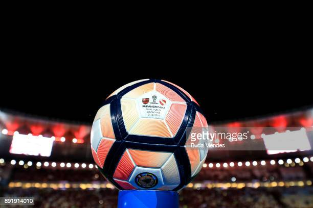 A detailed view of the match ball ahead the second leg of the Copa Sudamericana 2017 final between Flamengo and Independiente at Maracana stadium on...