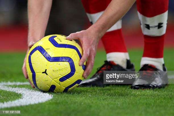Detailed view of the match ball as James Ward-Prowse of Southampton prepares to take a corner kick during the Premier League match between...