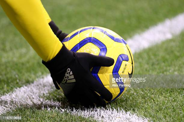 Detailed view of the match ball before a corner is taken during the Premier League match between Watford FC and Crystal Palace at Vicarage Road on...