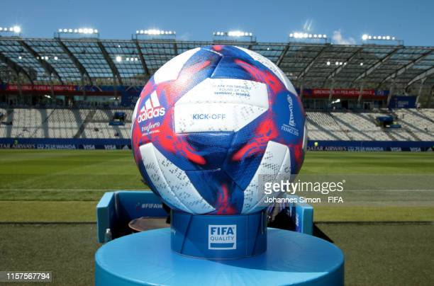 Detailed view of the match ball is seen prior to the 2019 FIFA Women's World Cup France Round Of 16 match between Germany and Nigeria at Stade des...