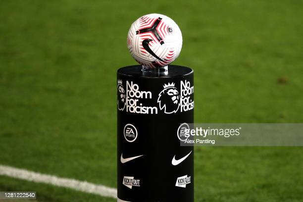 A detailed view of the match ball on a 'No Room for Racism' plinth prior to the Premier League match between Leeds United and Wolverhampton Wanderers...
