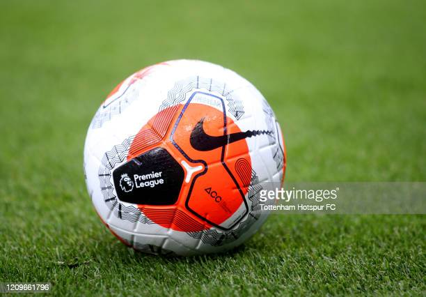 Detailed view of the match ball prior to the Premier League match between Tottenham Hotspur and Wolverhampton Wanderers at Tottenham Hotspur Stadium...