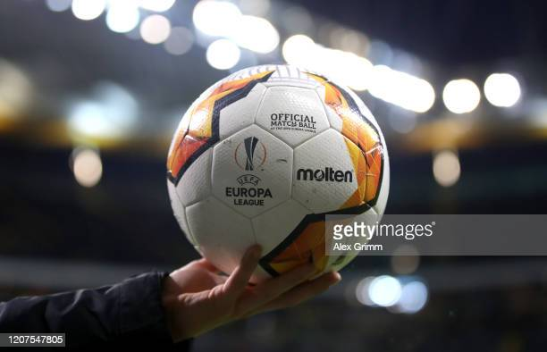 Detailed view of the match ball prior to the UEFA Europa League round of 32 first leg match between Eintracht Frankfurt and RB Salzburg at...