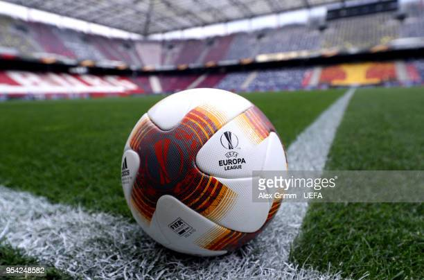 A detailed view of the match ball prior to the UEFA Europa Semi Final Second leg match between FC Red Bull Salzburg and Olympique de Marseille at Red...