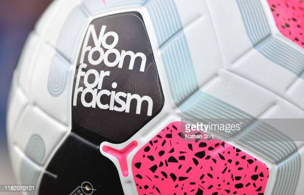 A detailed view of the match ball which includes the message 'No Room for Racism' during the Premier League match between Wolverhampton Wanderers and...