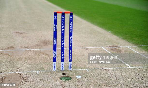 Detailed view of the match stumps during the ICC Champions Trophy Warmup match between India and Bangladesh at the Kia Oval on May 30 2017 in London...