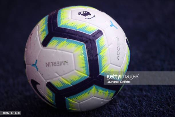 A detailed view of the matchball is seen prior to the Premier League match between Leicester City and Huddersfield Town at The King Power Stadium on...
