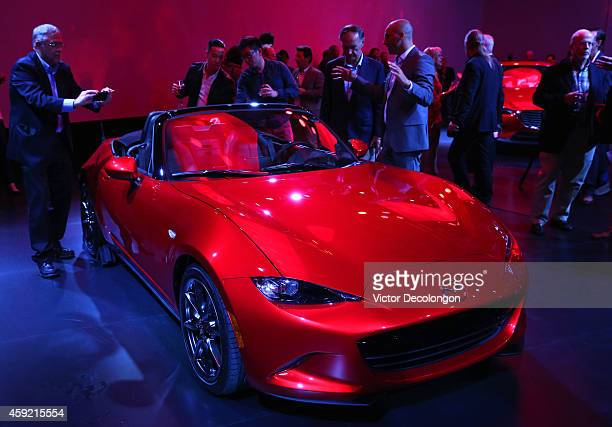 A detailed view of the Mazda MX5 on November 18 2014 in Hollywood California This is the FourthGeneration Mazda MX5 The MX5 has matured and evolved...