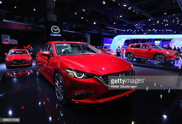 A detailed view of the Mazda6 at the annual Los Angeles Auto Show on November 19 2014 in Los Angeles California Debuting in 2012 as the flagship...