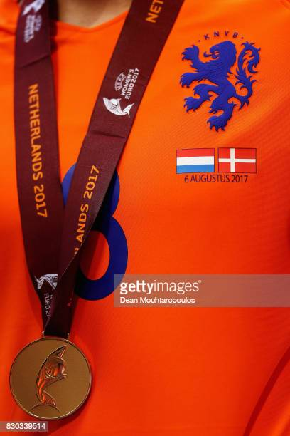 Detailed view of the medal of Sherida Spitse of the Netherlands following the Final of the UEFA Women's Euro 2017 between Netherlands v Denmark at FC...
