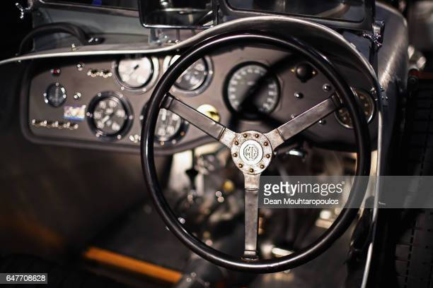 A detailed view of the MG Ptype from 1934 during the The 40th Antwerp Classic Salon run by SIHA Salons Automobiles and held at Antwerp EXPO Halls on...