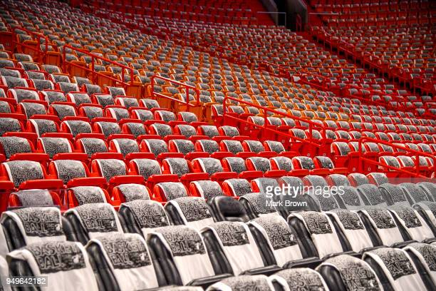 A detailed view of the Miami Heat playoff shirts in the seats before Game Four of Round One of the 2018 NBA Playoffs between the Miami Heat and the...