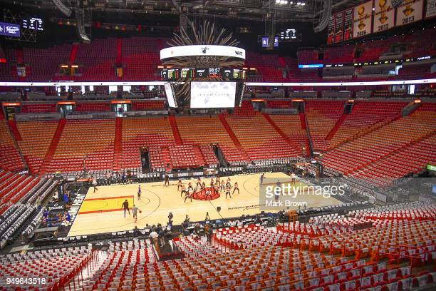 A detailed view of the Miami Heat playoff shirts in the seats through the arena before Game Four of Round One of the 2018 NBA Playoffs between the...