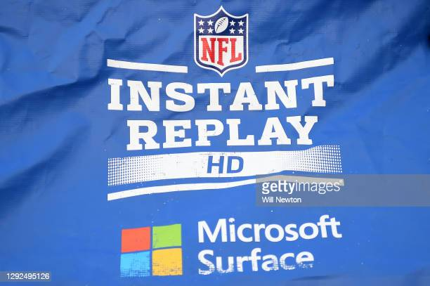 Detailed view of the Microsoft Surface instant replay booth on the sideline during the second half between the Baltimore Ravens and the Jacksonville...