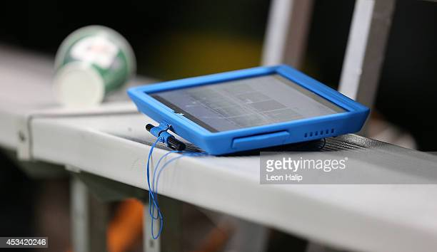 A detailed view of the Microsoft Surface on the Cleveland Browns bench during the preseason game against the Detroit Lions at Ford Field on August 9...