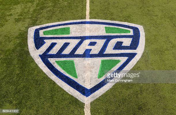 A detailed view of the MidAmerican Conference logo painted on the field prior to the Quick Lane Bowl between the Minnesota Golden Gophers and the...