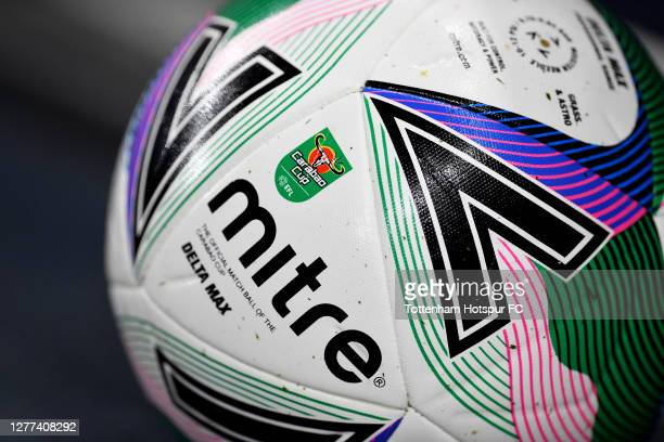 Detailed view of the Mitre Carabao Cup match ball is seen prior to 3the Carabao Cup fourth round match between Tottenham Hotspur and Chelsea at...