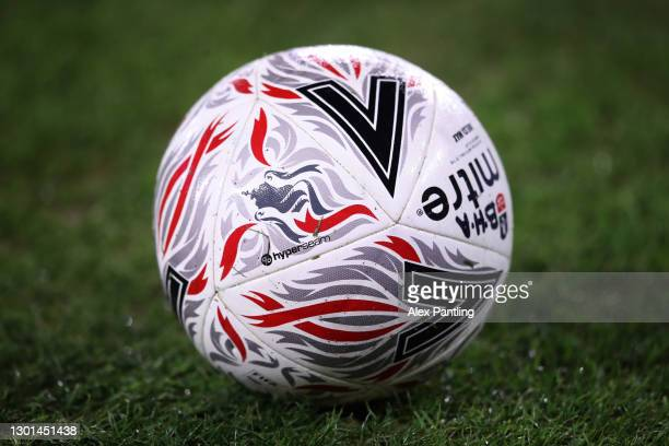 Detailed view of the Mitre Delta Max FA Cup match ball ahead of The Emirates FA Cup Fifth Round match between Leicester City and Brighton And Hove...