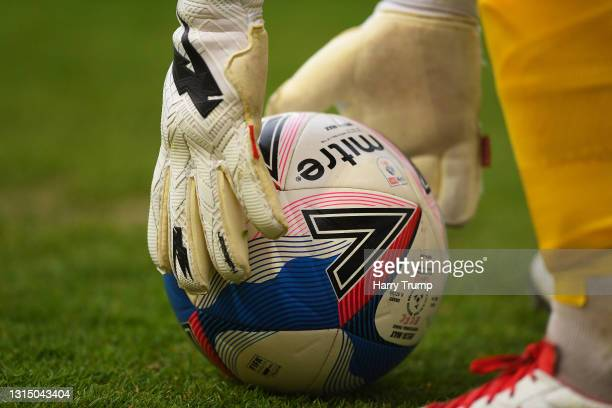 Detailed view of the Mitre match ball during the Sky Bet League Two match between Exeter City and Grimsby Town at St James Park on April 27, 2021 in...