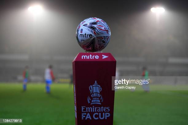 Detailed view of the Mitre match ball is seen on the FA Cup Plinth prior to the FA Cup first round match between Harrogate Town and Skelmersdale...