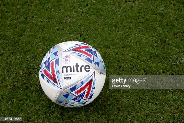 Detailed view of the mitre match ball prior to the Sky Bet Championship match between Preston North End and Wigan Athletic at Deepdale on August 10,...
