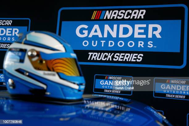 A detailed view of the NASCAR Gander Outdoors Truck Series logo and helmet as it was announced that Gander Outdoors will sponsor the series in 2019...