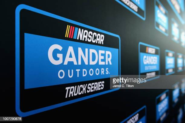 A detailed view of the NASCAR Gander Outdoors Truck Series logo as it was announced that Gander Outdoors will sponsor the series in 2019 prior to the...