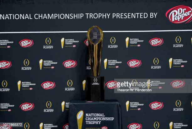 Detailed view of the National Championship Trophy on display during the College Football Playoff National Championship Media Day for the Alabama...