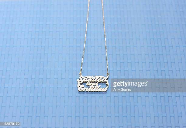 A detailed view of the necklace in the Spring 2013 Spoiled and Entitled clothing jewelry and chocolate collection on December 19 2012 in West...
