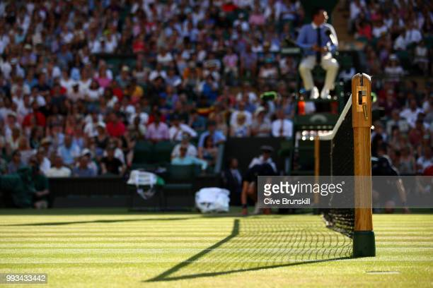 A detailed view of the net on center court on day six of the Wimbledon Lawn Tennis Championships at All England Lawn Tennis and Croquet Club on July...