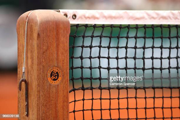 Detailed view of the net on centre court during day seven of the 2018 French Open at Roland Garros on June 2, 2018 in Paris, France.