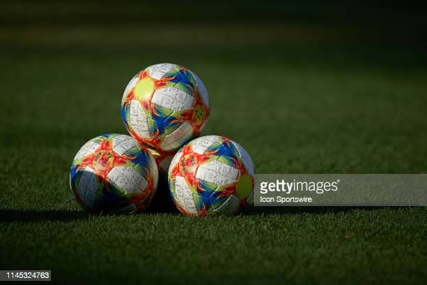 A detailed view of the new adidas 2019 FIFA Women's World Cup Conext19 Official Match Balls are seen prior to game action during an international...