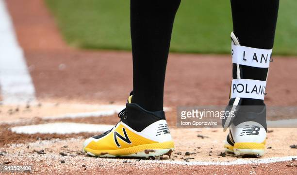 A detailed view of the New Balance Baseball shoes worn by Gregory Polanco of the Pittsburgh Pirates during the game against the Minnesota Twins on...