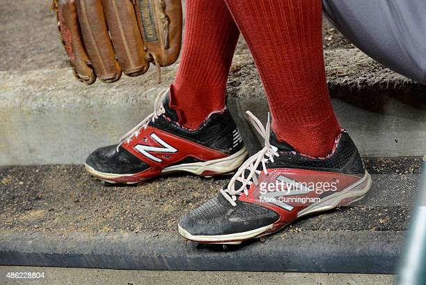 A detailed view of the New Balance baseball shoes worn by Xander Bogaerts of the Boston Red Sox during the game against the Detroit Tigers at...