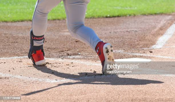 A detailed view of the New Balance shoes worn by Francisco Lindor of the Cleveland Indians as he bats during the game against the Detroit Tigers at...