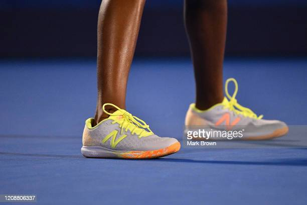 A detailed view of the New Balance tennis sneaker worn by Coco Gauff during her match against Estela PerezSomarriba during the Delray Beach Open...