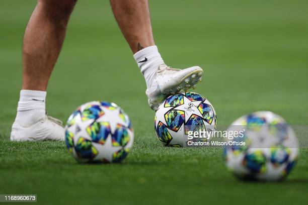 A detailed view of the new Champions League match ball ahead of the UEFA Champions League group H match between Chelsea FC and Valencia CF at...