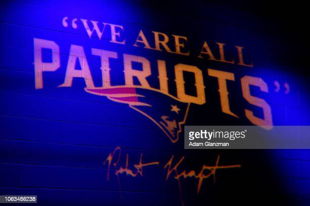 A detailed view of the New England Patriots logo in the tunnel before a game against the Kansas City Chiefs at Gillette Stadium on October 14 2018 in...