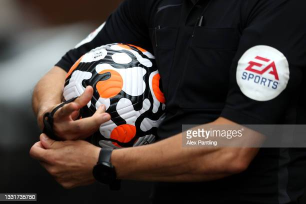 Detailed view of the New Nike Premier League match ball held by the referee during a Pre-Season Friendly match between Stoke City and Wolverhampton...