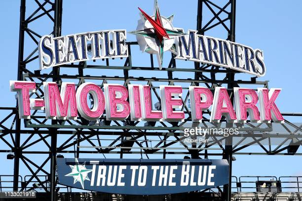Detailed view of the new T-Mobile Park sign as the Seattle Mariners take on the San Diego Padres during their spring training game at T-Mobile Park...