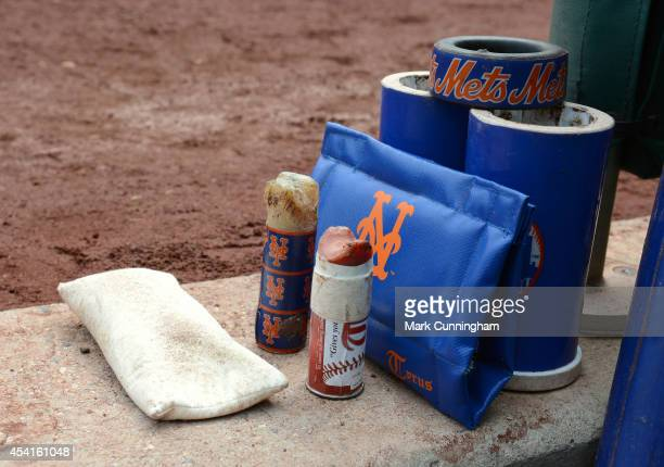 A detailed view of the New York Mets ondeck items prior to the game against the Washington Nationals at Nationals Park on August 7 2014 in Washington...