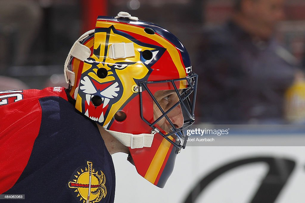 A Detailed View Of The Newly Painted Mask Of Goaltender Roberto