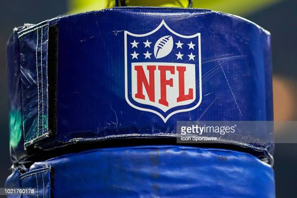 A detailed view of the NFL crest and logo are seen on a goal post pad in game action during the preseason NFL game between the Indianapolis Colts and...