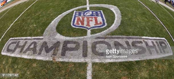 A detailed view of the NFL crest and the NFL Championship logo are seen during the NFC Championship Game between the Minnesota Vikings and the...