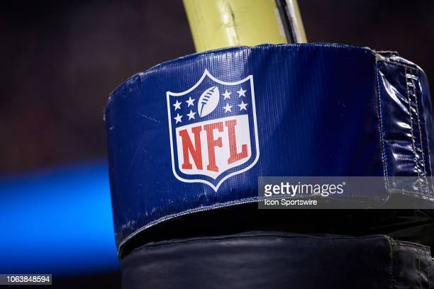 A detailed view of the NFL crest logo is seen on a goal post pad in action during a NFL game between the Chicago Bears and the Minnesota Vikings on...