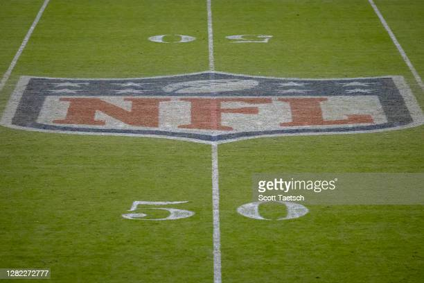 Detailed view of the NFL logo on the field after the game between the Washington Football Team and the Dallas Cowboys at FedExField on October 25,...