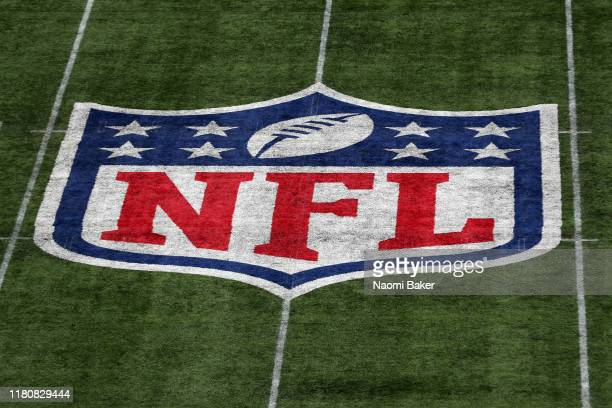 A detailed view of the NFL logo on the field during the NFL game between Carolina Panthers and Tampa Bay Buccaneers at Tottenham Hotspur Stadium on...
