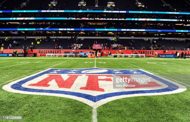 Detailed view of the NFL logo on the pitch after the NFL match between the Carolina Panthers and Tampa Bay Buccaneers at Tottenham Hotspur Stadium on...