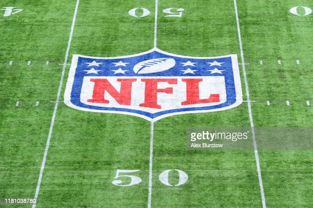 Detailed view of the NFL logo on the pitch during the NFL match between the Carolina Panthers and Tampa Bay Buccaneers at Tottenham Hotspur Stadium...